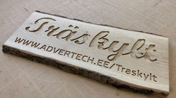 Wooden sign with engraved name 600mm